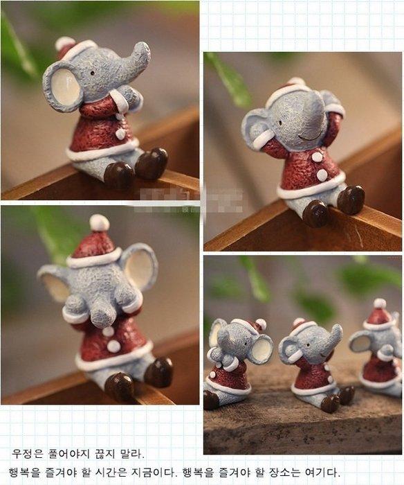 【愛麗絲生活家飾雜貨】zakka雜貨不看不聽不說超萌聖誕三不樹脂娃娃擺飾-大象款