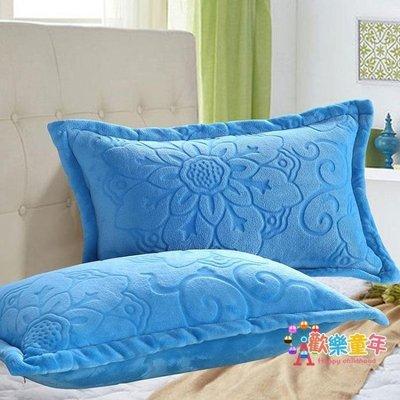 純色珊瑚絨枕套冬季加厚法萊絨枕芯套一對裝雙面刷毛枕頭套單雙人