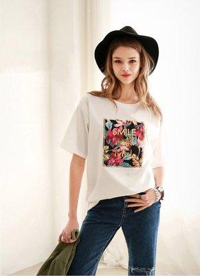 =EF依芙=早班車5076 韓國 首爾時尚精品 東大門同步上新 短袖圓領套頭t恤 大碼寬鬆顯瘦女上衣