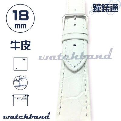 【鐘錶通】C1-80AR《簡約系列》大花鱷魚紋-18mm 簡約白 (手拉錶耳) /手錶錶帶/大花鱷魚紋/牛皮錶帶/