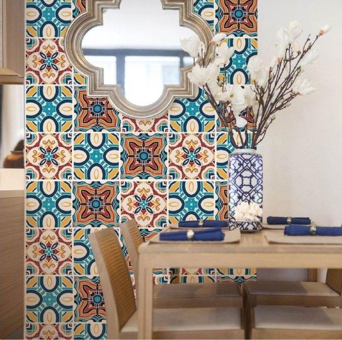 壁貼工場-AR721小號壁貼 復古花磚 防水磁磚貼 馬賽克 高質感印刷 -非立體牆貼(6片裝)單片尺寸20*20CM