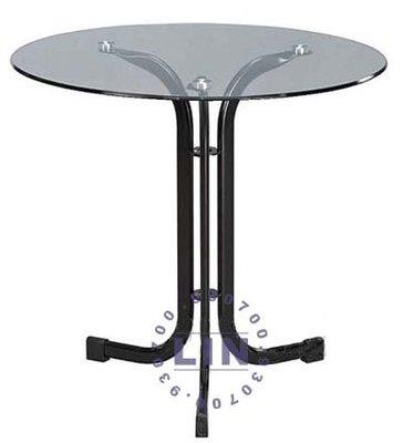 【品特優家具倉儲】R737-25餐桌洽談桌409黑砂扁管玻璃圓桌