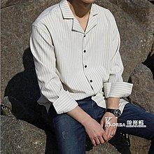 可開發票❈條紋襯衫男長袖韓版休閒寬鬆帥氣寸網紅學生修身潮流外套黑色襯衣「凡奈斯」