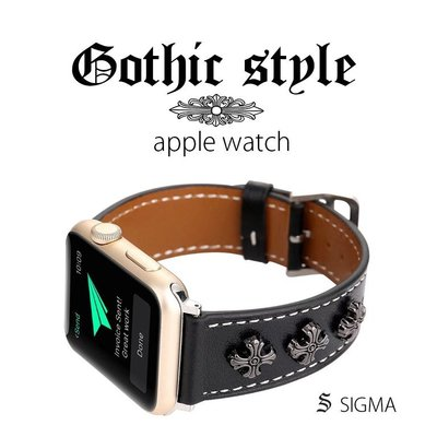 applewatch錶帶 Chrome Hearts 克羅心 銀飾 真皮錶帶  適用1 2 3 4 代