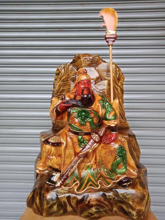 2呎3 有靠山坐姿武聖關公 樟木彩繪雕刻 作者:柯金坤
