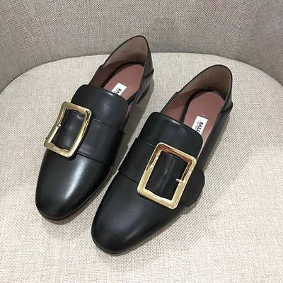 現貨全新正品Bally JANESSE MULE SLIPPER金色方扣 小牛皮穆勒鞋 拖鞋 黑色 尺寸齊全 正品