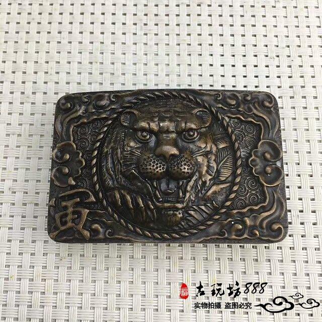 聚寶閣 古玩雜項 黃銅皮帶扣 仿古工藝品 十二生肖虎  男士皮帶扣 老虎 G1852