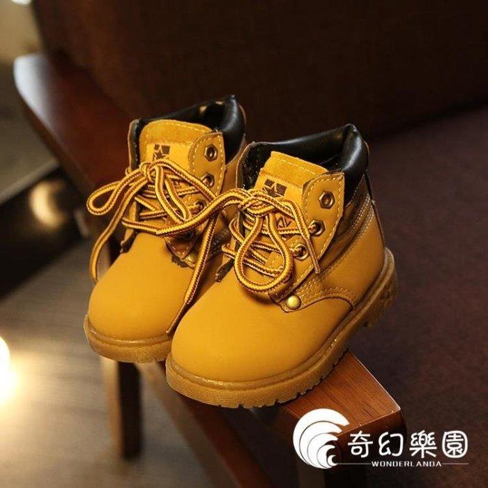 童鞋靴子男童短靴女童皮馬丁靴新款中筒小黃靴子2018春季新款兒- 全館免運