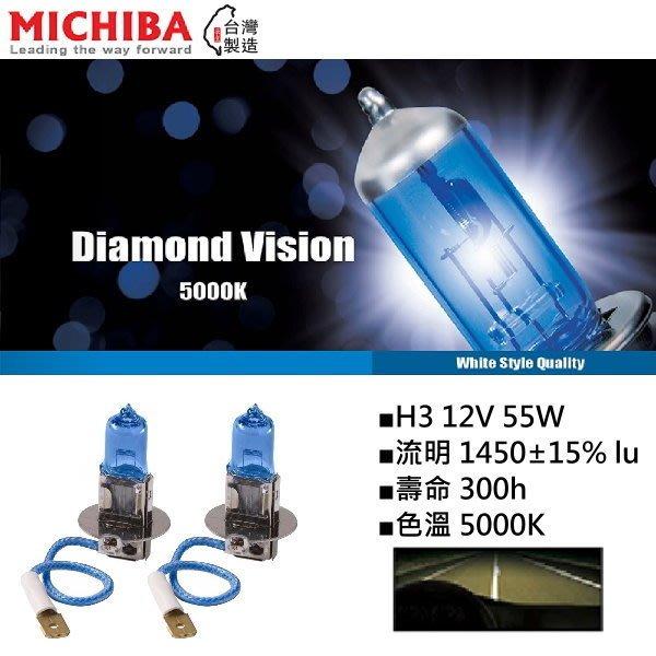 和霆車部品中和館—台灣MICHIBA 色溫5000K 規格H3 12V 55W 超白光鹵素燈泡(1組2顆入)