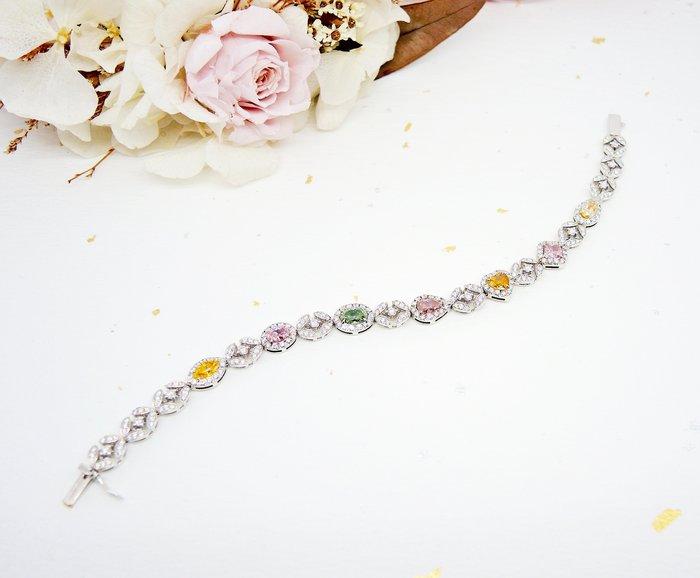 【JHT金宏總珠寶/GIA鑽石專賣】天然彩色花式鑽石手鍊-3.06ct