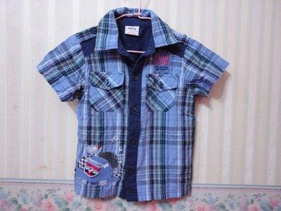 一元起標~nova~藍色格紋短袖襯衫~SIZE:2-3y(98cm)