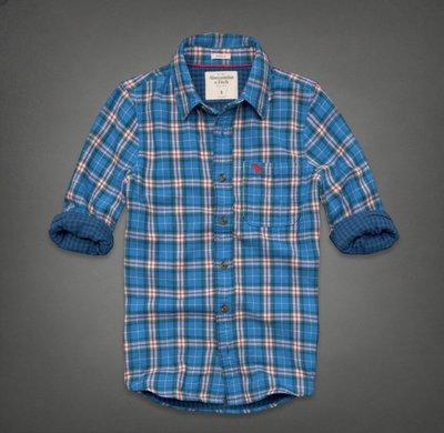 大尺碼 ☆瘋米國衣舖☆ Abercrombie&Fitch 藍色 男生長袖襯衫 A&F AF 格紋 純棉 麋鹿 美國帶回