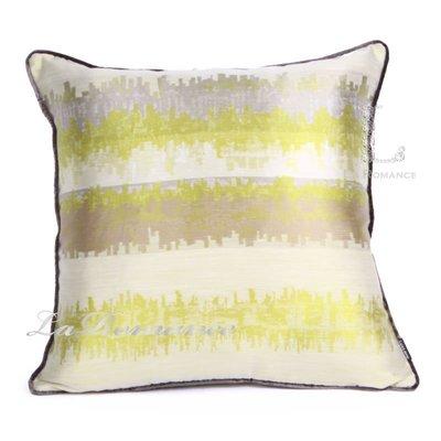 【芮洛蔓 La Romance】現代時尚系列綠色漸層條紋緹花抱枕 / 靠枕 / 靠墊 / 方枕