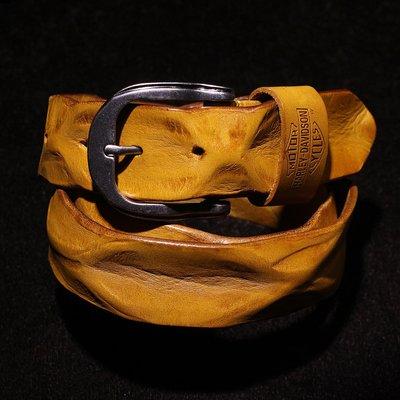 『老兵牛仔』CY-03外貿手工褶皺真牛皮皮帶/頭層牛皮/復古/彈力/耐拉/個性