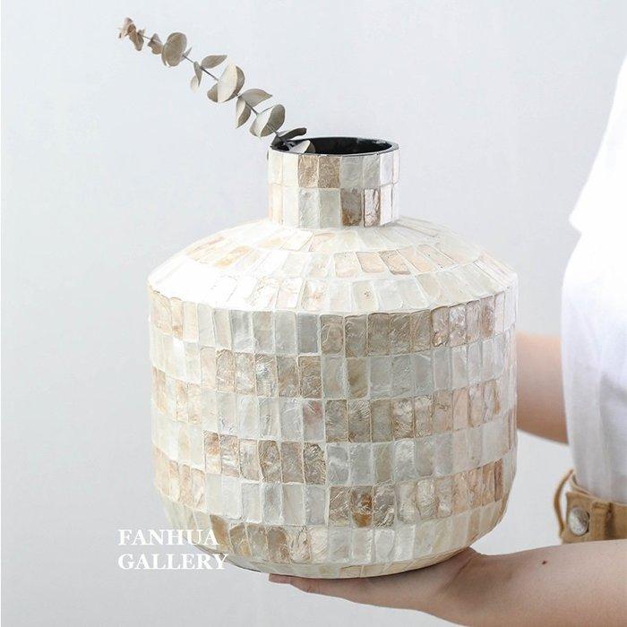 C - R - A - Z - Y - T - O - W - N 北歐輕奢風進口手工彩貝木花瓶裝飾桌面創意花器家用客廳