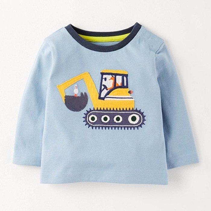 ☆草莓花園☆BDEM7091新品歐美風兒童長袖衣服 純棉童T 男童 藍色圓領工程車 兒童t恤