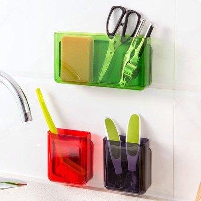 塑料壁掛餐具收納盒廚房置物架免打孔墻壁掛架調料架收納架JJ032