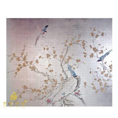 【芮洛蔓 La Romance】手繪絲綢金銀箔壁紙 ZW03-040-銀 / 壁飾 / 畫飾 / 牆紙