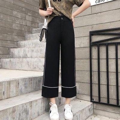 闊腿褲女2018春秋高腰寬鬆顯瘦七分直筒褲~