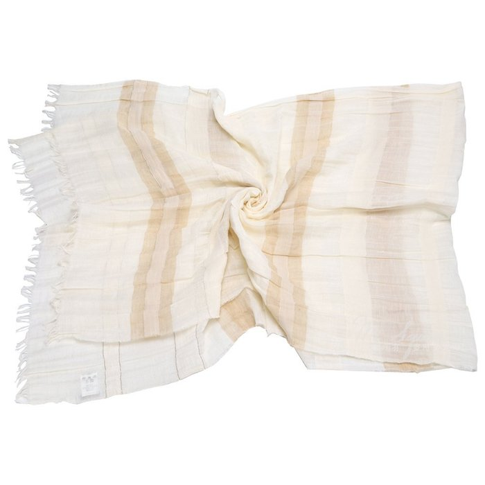 米蘭廣場 FABIANA FILIPPI 米色棉麻格紋圍巾 1510706-03