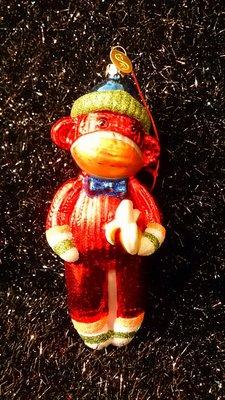 紅色大嘴猴手工玻璃吊飾玩偶:猴子 紅色玻璃 吊飾 大嘴猴 居家 家飾 雜貨 設計 收藏 禮品