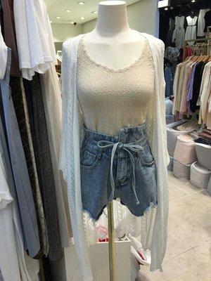 正韓女裝 現貨 不對稱高腰綁帶牛仔短褲
