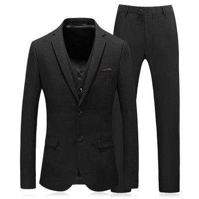 【MOZ潮流男装】男士西裝外套兩粒扣黑色潮韓版修身商務休閑工作服西服套裝三件套