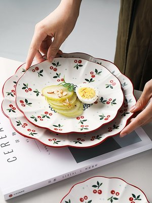 菜碟餐盤 半房創意手繪櫻桃餐盤個性可愛花邊菜盤子家用大號復古釉下彩圓盤