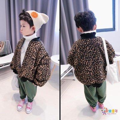 男童加厚豹紋外套冬季兒童寬鬆毛呢夾克中童寶寶小孩時尚短款上衣