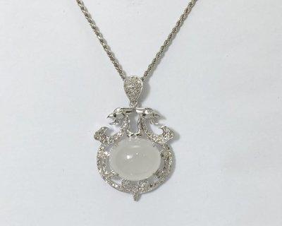順利當舖  緬甸產A貨天然綠翡翠18K白金鑽石墜子