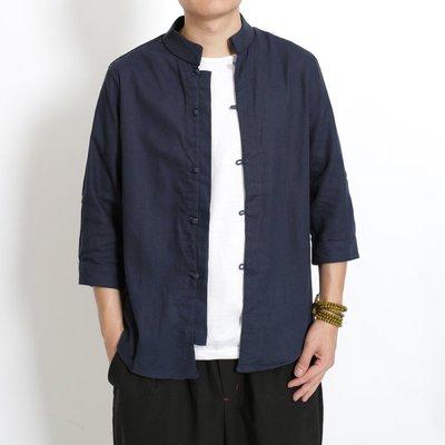 ∵ PRAY FOR FASHION ∴夏季中式復古亞麻薄款棉麻盤扣立領修身七分袖襯衫