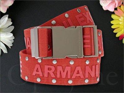 美國真品 A|X Armani Exchange AX 阿曼尼鉚釘裝飾橘紅腰帶皮帶SM號免運費 愛Coach包包