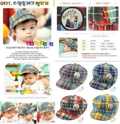 ※結束出清特賣※☆貝比HOUSE☆『帽類』韓單格紋款貼布/貓咪貼標寶寶帽(單碼48-52)