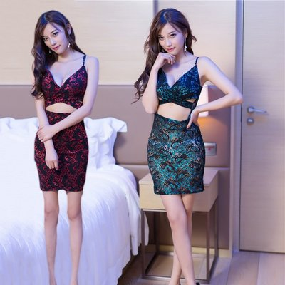 Low V-cut Cheongsam,Lingerie,Sexy party wear,hot,night club