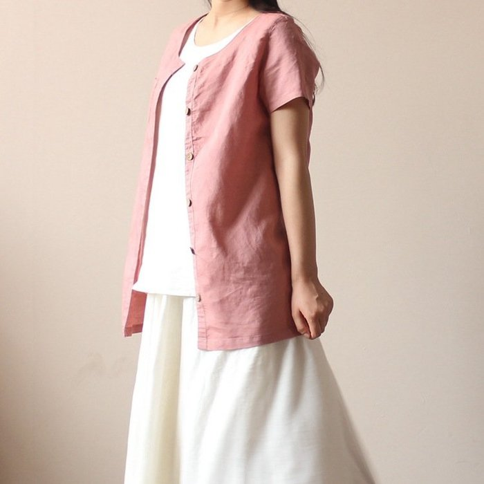 (老銀屋)夏裝新款棉麻短袖開衫上衣