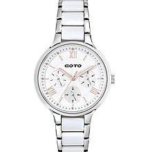 GOTO 幸運女神白鋼殼白面 防刮鏡面 不鏽鋼陶瓷錶帶 GS1373L-22-241 原廠公司貨 保固一年 /34mm