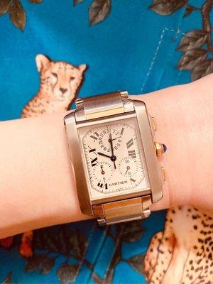 真品 卡地亞Cartier 18k 黃金鏈帶 Tank Francaise 坦克 三眼 手錶腕錶 男錶 女錶 珠寶 戒指 三環 勞力士 蕭邦 寶磯 PP 伯爵