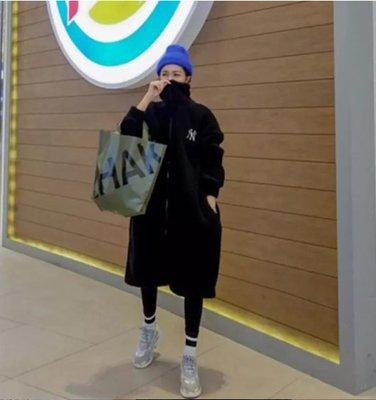 韓國 立領 翻玩 洋基 NY 長版羔羊毛外套 QQ毛外套 泰迪熊毛 長版大衣 保暖 顯瘦