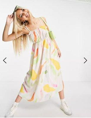 (嫻嫻屋) 英國ASOS -優雅時尚名媛smudge print平口領綁帶肩帶中長裙洋裝SG21
