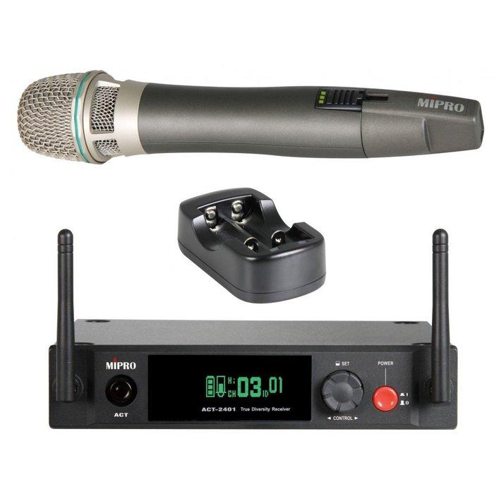 【昌明視聽】無線麥克風組 2.4G ACT-2401 固定式天線半U單頻道接收機 單頻道手握(附MP-80充電器x1)