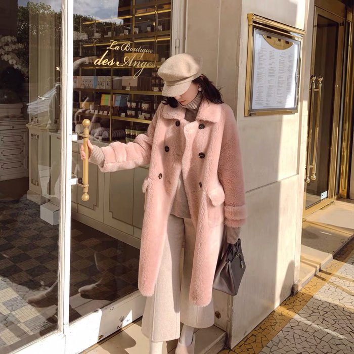 ❤JM SHOP韓風❤中長款澳洲進口綿羊毛顆粒絨大衣