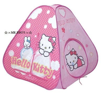 ☆:+:MR.BBOY:+:☆ 三麗鷗 Hello Kitty 三角粉紅兒童帳篷、球池屋、折疊玩具屋 免租裝速開