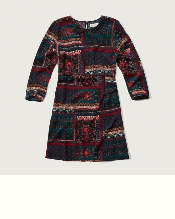 【天普小棧】A&F Abercrombie&Fitch Printed A-line Dress連身七分袖洋裝XS號