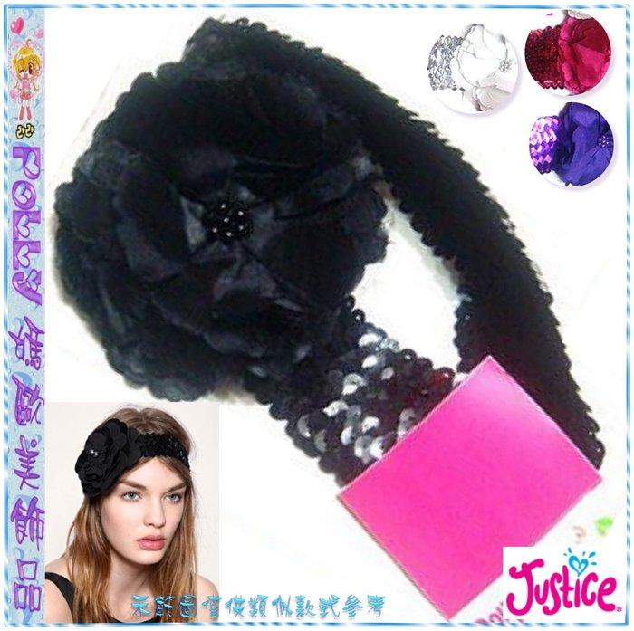 ☆POLLY媽☆Justice網眼紗絲緞層次大花朵鱗片形亮片彈性髮帶USA$12~黑色、銀色、玫紅、紫色