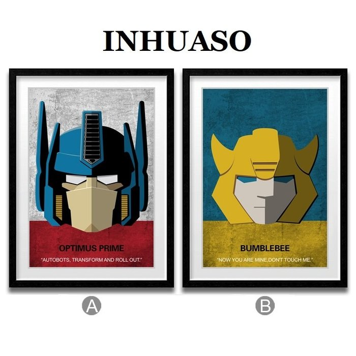 INHUASO 癮|畫|所 Transformers變形金剛柯博文電影掛畫海報擎天柱大黃蜂主題電影兒童房裝飾畫壁畫掛畫