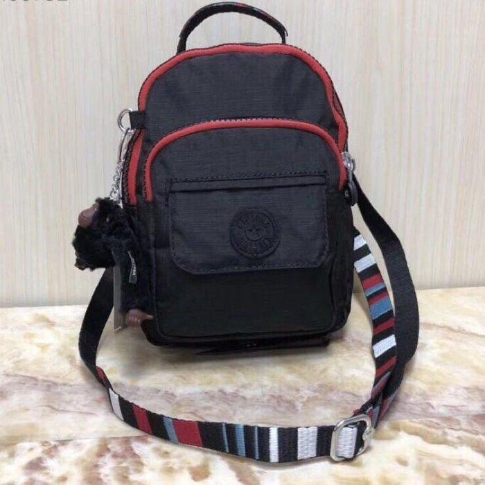 Kipling 猴子包 mini HB7349 亞麻黑拼色 彩色背帶 多用款肩背 斜背 側背 輕量雙肩後背包 小號 防水 限時優惠