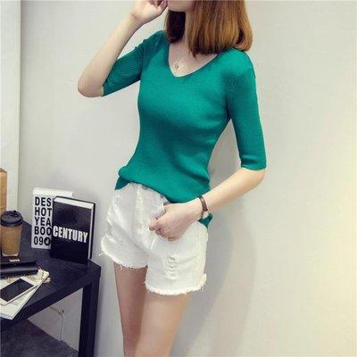 春夏女裝新款打底上衣韓版修身V領中袖T恤chic冰絲短袖針織衫