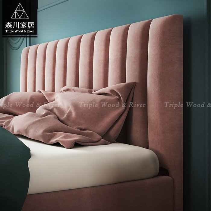 《森川家居》PBB-34BB15-現代輕奢設計絨布六呎雙人床架 軟床咖啡廳民宿/餐椅收納設計/美式LOFT品東西IKEA
