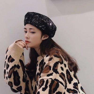 網紅時尚BLing閃亮片貝雷帽女潮流時尚蓓蕾帽復古畫家帽八角帽子