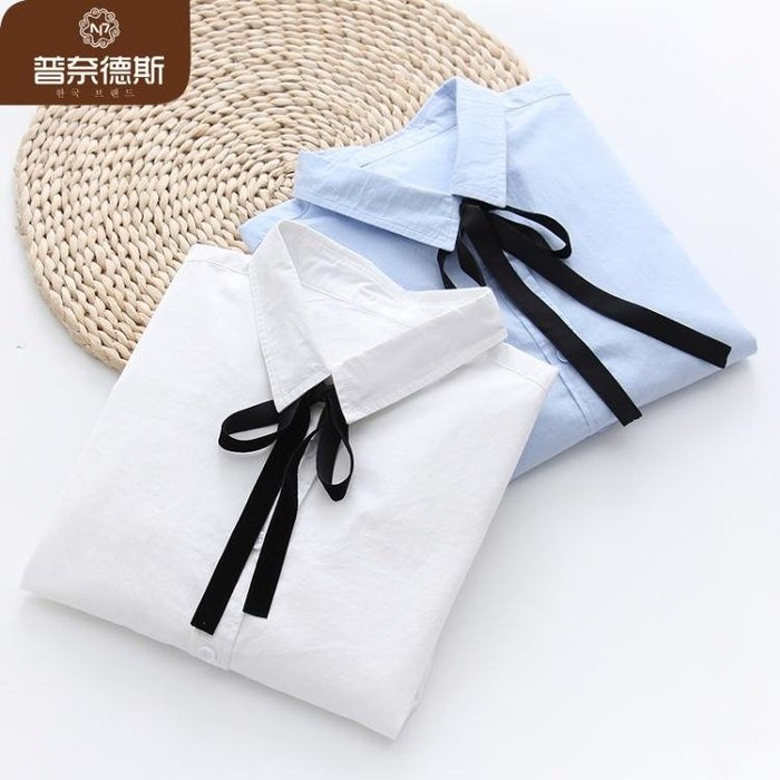 小清新白色襯衫女長袖秋裝女2018新款韓版學生百搭寬鬆蝴蝶結系帶